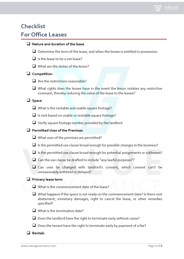 Checklist Office Leases