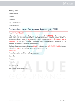 Notice of Terminate Tenancy At-Will by Landlord