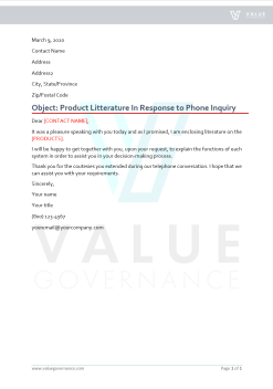 Product Literature in Response to Phone Inquiry