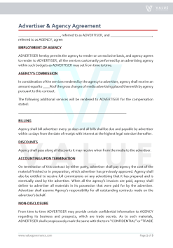Advertiser & Agency Agreement
