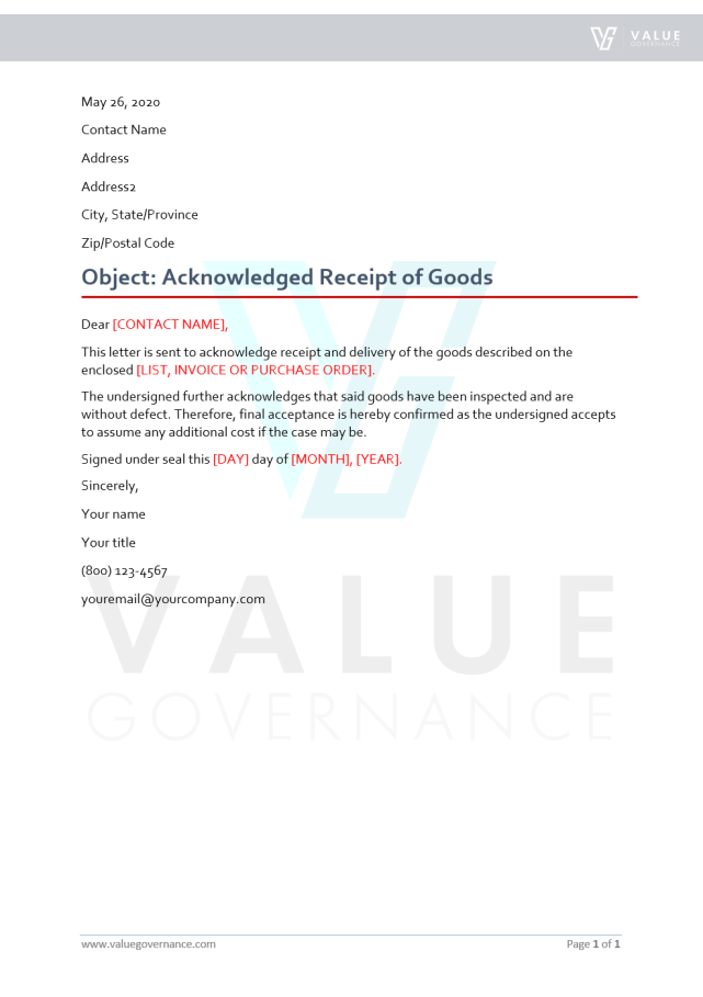Acknowledged Receipt of Goods