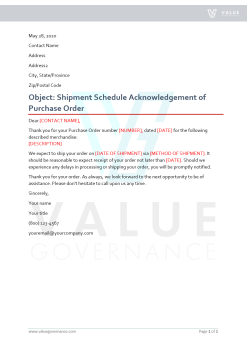 Shipment Schedule Acknowledgement of Purchase Order