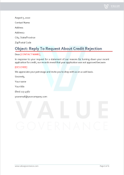 Reply to Request About Credit Rejection
