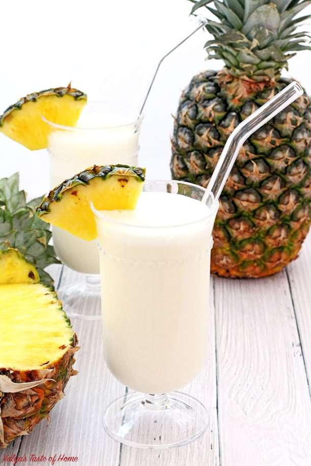 Pina Colada Smoothie is one of the most popular tropical drinks for a very good reason: the perfect creamy mix blended out of pineapple juice. There are many types of Pina Colada recipes, but I make mine simple. If you like the coconut flavor in yours, you may add coconut cream or milk instead of half & half. Just throw all the ingredients into the blender and the rest is done for you. It melts quickly so make sure to serve it right away.   www.valyastasteofhome.com