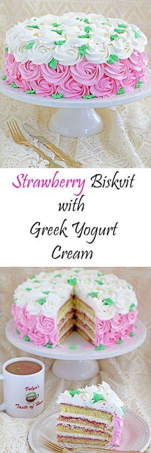 trawberry Biskvit Cake with Greek Yogurt Cream
