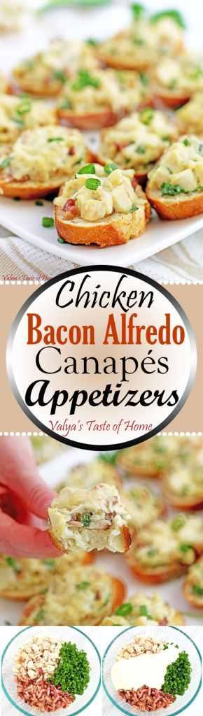 Chicken Bacon Alfredo Canapés Appetizers