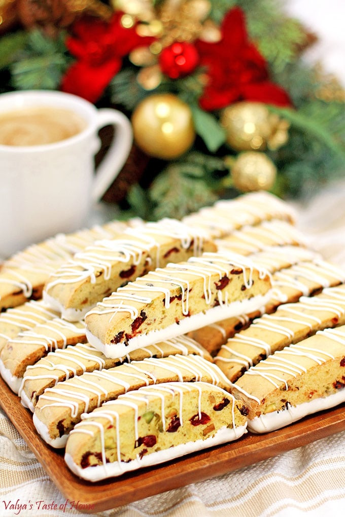 White Chocolate Cranberry Pistachio Biscotti Recipe Valya S Taste