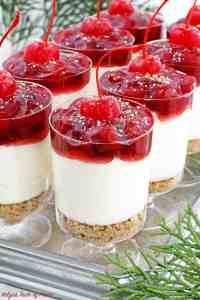 These No Bake​ Cherry Cheesecake Parfaits are not only beautiful, they are delicious, perfectly portioned décor dessert that is any party friendly.