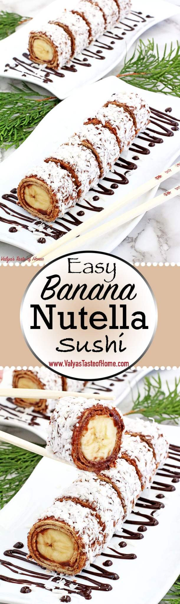 What can be better than sushi? Dessert sushi, folks! This Easy Banana Nutella Sushi Rolls require no baking and comes together in no time! A banana rolled in a honey tortilla, spread with Nutella, coated with coconut shaving make the best snack, and you've got an irresistibly legit pleaser on your hands. Sushi's better half!