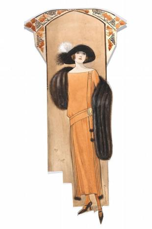 Hilda Steward, fashion design, London, 1923. This sleeveless evening dress appears to be made in satin with a short lace three layer overskirt hanging from the belt. The belt is slightly higher than the waist in the front and supports the overskirt only from the side to the back - leaving the front completely free. The figure is wearing a bracelet above the elbow and a large head band typical of the 1920s to hold the new short fashionable hair cut.