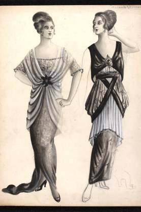 Madeleine Vermont (1897-1972), fashion design, London, 1913. Two evening dress designs in pencil showing use of flowing material to create dresses with elaborate drapes. The tunic in the right hand design is made out of pleated material.
