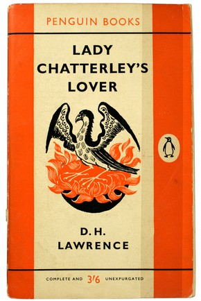 Front cover of 'Lady Chatterley's Lover' by DH Lawrence, designed by Stephen Russ, published by Penguin, 1960. Museum no. LOAN:PENGUIN BOOKS