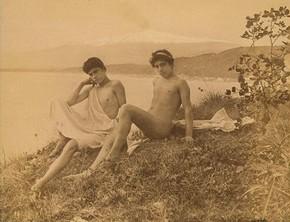 Wilhelm von Gloeden, 'Two Seated Sicilian Youths', about 1900. Museum no. 2815-1952