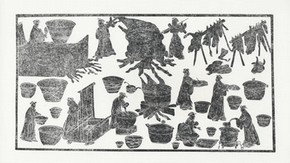 Kitchen scene from a mural in an Eastern Han tomb, about 200