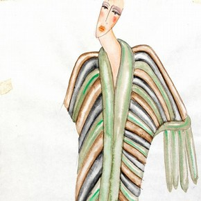 Zandra Rhodes (b.1940), design for a fur coat, London, 1970s. Museum no. C.286-1974.