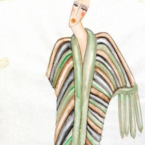 Zandra Rhodes (b.1940), design for a fur coat, London, 1970s. Museum no. C.286-1974.