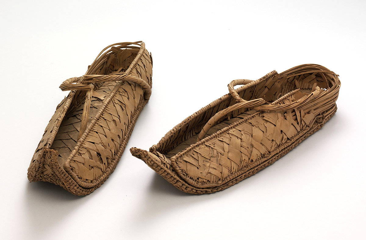 Pair of overshoes, 1550-1070 BC, Egypt, reed. From Major Myers collection. V&A: 865&A-1903