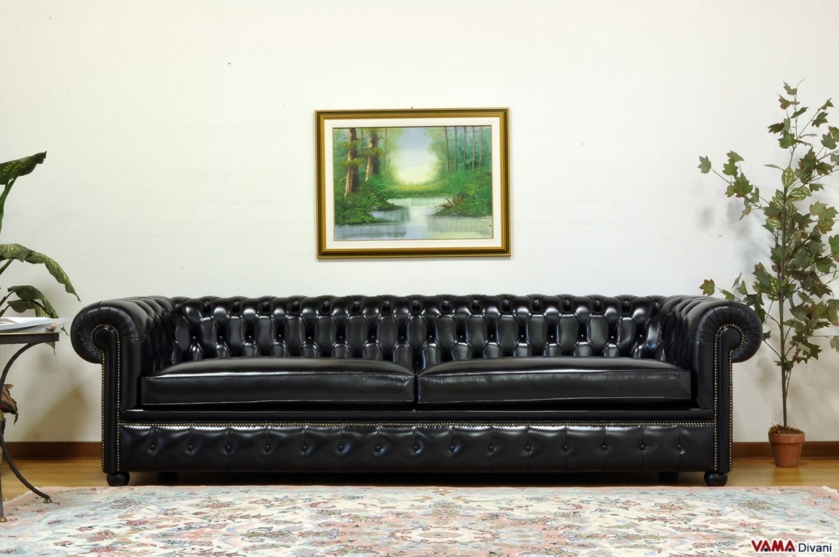 Chesterfield Sofa With Vintage Brass Plated Studs