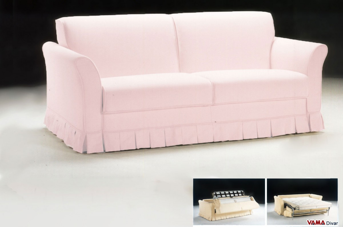 Classic Fabric Double Sofa Bed With Decorative Skirt
