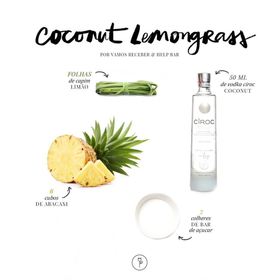 Receita da bebida Coconut Lemongrass