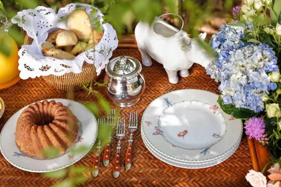 porcelana francesa Butterfly para cafe da manha