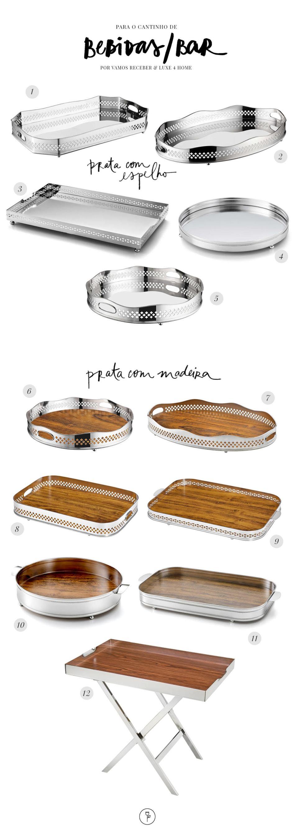 badejas pratas com espelhos e madeiras da Luxe 4 Home