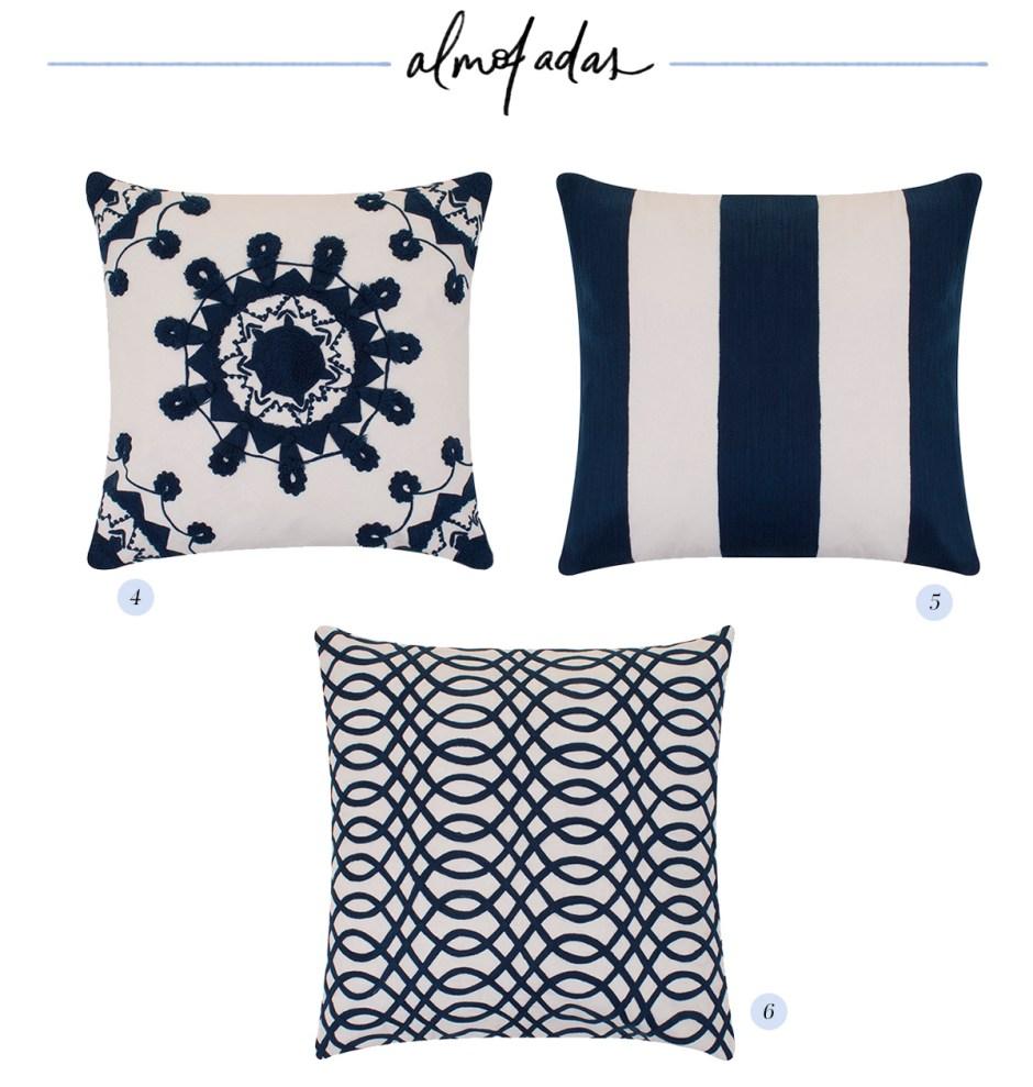 almofadas em tons de azul