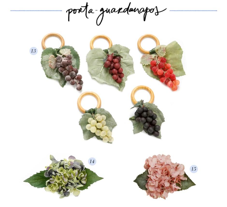 porta-guardanapos de fruta e flores