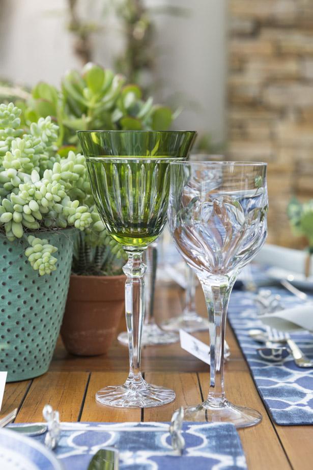 taça de cristal verde
