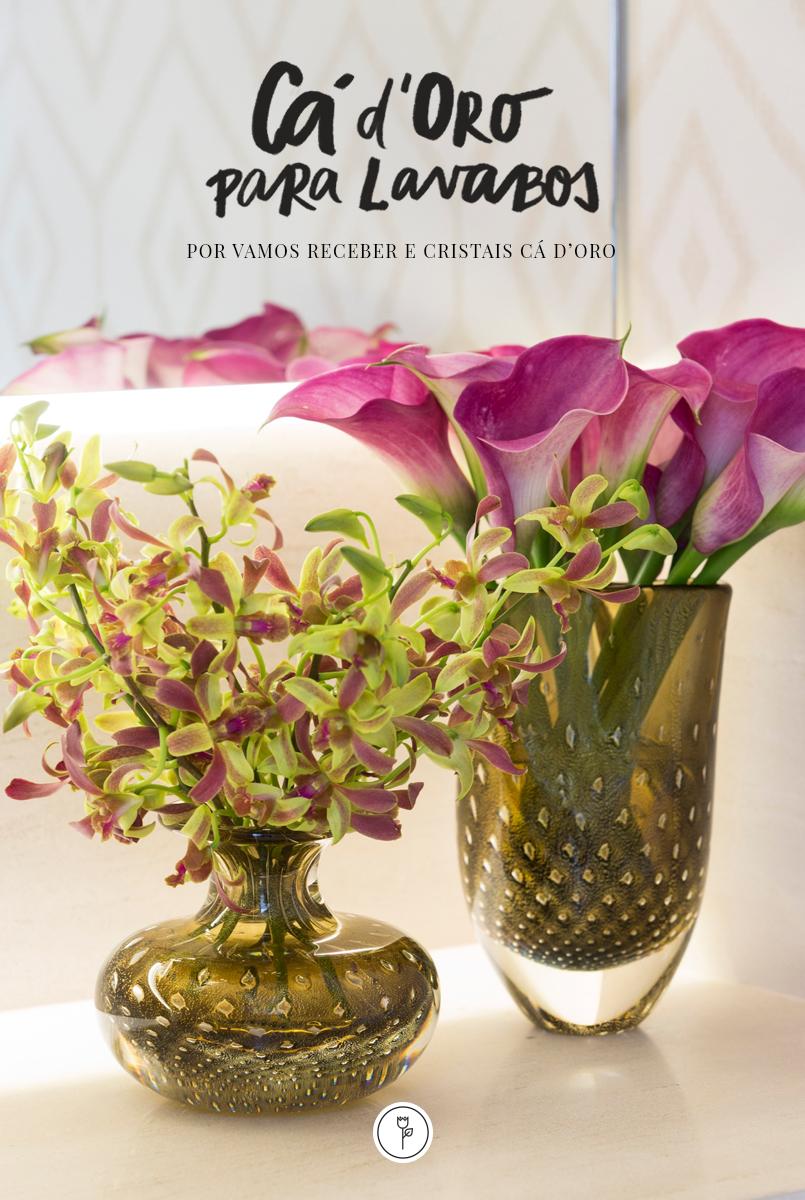 vasos de cristal com ouro Cristais Cá d'Oro para o lavabo