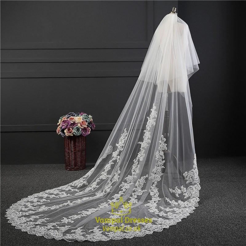 One Tier Lace Applique Edge Drop Chapel Bridal Veils With