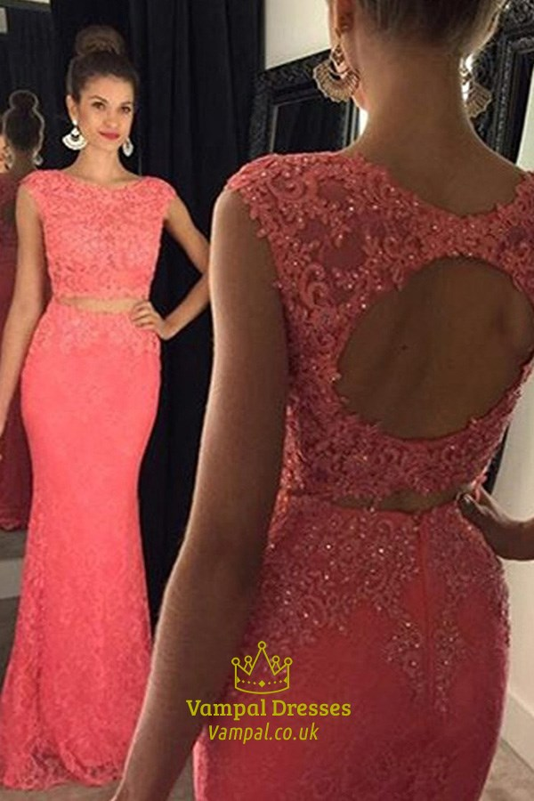 Coral Two Piece Cap Sleeve Mermaid Lace Prom Dress With