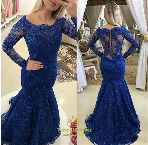 Royal Blue Mermaid Off Shoulder Long Sleeve Beaded Lace