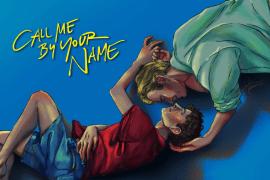 Fanart di Chiamami col tuo nome. Elio e Oliver distesi su uno sfondo blu con il titolo del film in giallo in alto a sinistra.