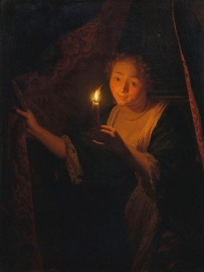 schalcken the painter Godfried_Schalcken_-_A_Girl_with_a_Candle_Drawing_aside_a_Curtain_RCIN_404624