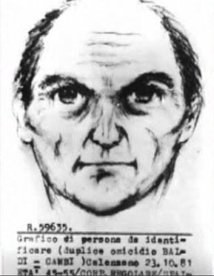 Identikit di persona sospetta, eseguito dall'agente Giovanni Simpatia dopo il delitto di Calenzano del 22 ottobre 1981