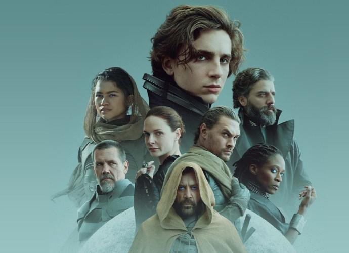 Javier Bardem, Josh Brolin, Rebecca Ferguson, Jason Momoa, Sharon Duncan-Brewster, Oscar Isaac, Timothée Chalamet, and Zendaya in Dune (2021)