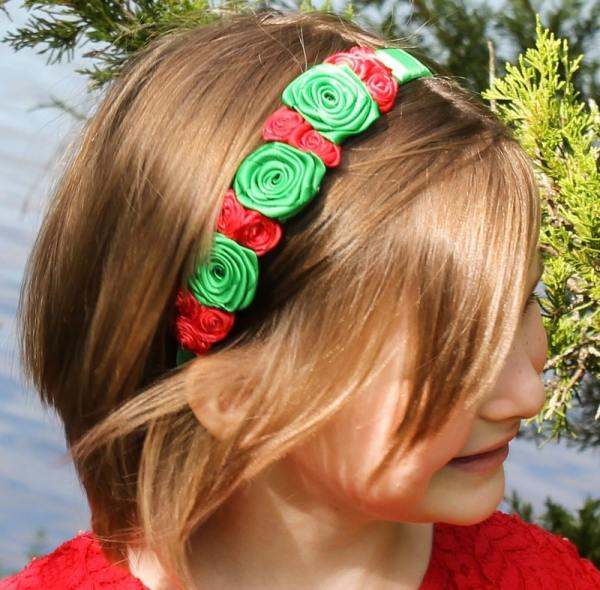 red and green christmas headband