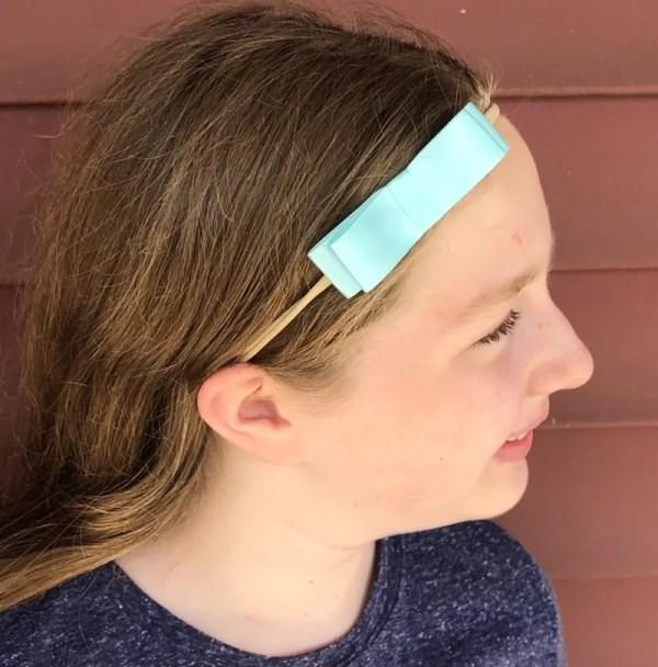 toddler aqua bow headband
