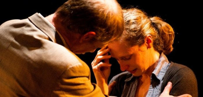 Anthony F. Ingram and Susie Coodin in the Bleeding Heart Theatre and Xua Xua Productions presentation of Oleanna. Photo by Graham Ockley.