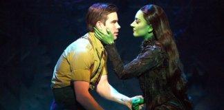 Matt Shingledecker and Laurel Harris in Wicked. Photo by Joan Marcus.