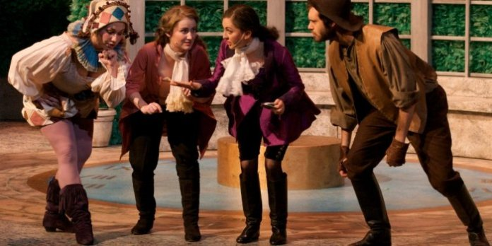 Charlotte Wright, Cassandra Szabo, Catherine Fergusson, and Nathan Cottell in Triumph of Love. Photo by Julia Carr.