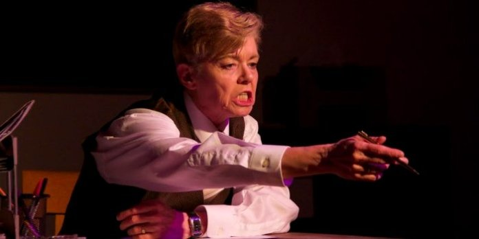 Colleen Winton as Shelley Levene in the Classic Chic Productions presentation of Glengarry Glen Ross. Photo by Megan Verhey.