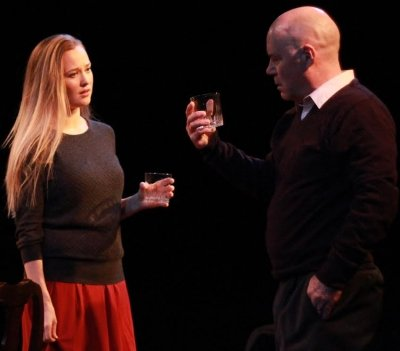Kate Dion Richard and John Prowse discuss a WASP family secret over cocktails in A.R. Gurney's The Dining Room. Photo by Marlee Walchuk.