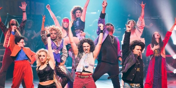 The cast of the Arts Club Theatre Company production of Rock of Ages. Photo by Emily Cooper.