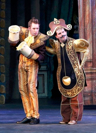 Victor Hunter and Steven Greenfield as Lumiere and Cogsworth. Photo by Tim Matheson.