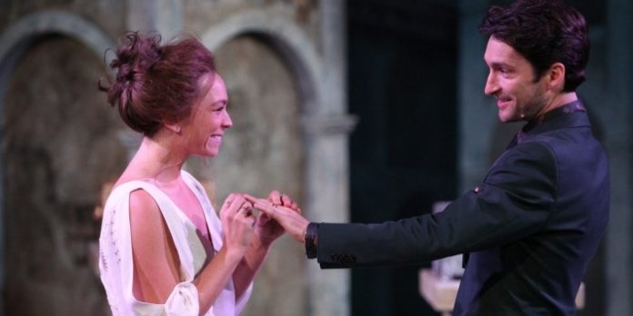 Olivia Hutt & Charlie Gallant as Bassanio and Portia in the Bard on the Beach production of The Merchant of Venice. Photo by David Blue.
