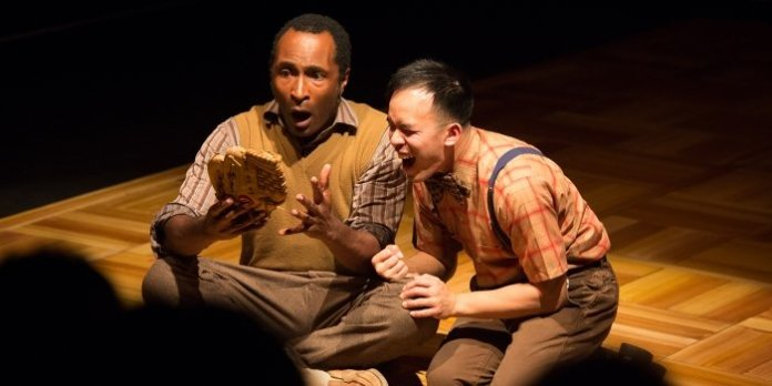 Anthony Santiago as John Wheelwright and Chris Lam as Owen Meany in the Ensemble Theatre Company production of A Prayer for Owen Meany. Photo by Javier R. Sotres.