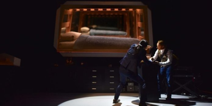 Tetsuro Shigematsu and Steve Charles in the 2017 production of 1 Hour Photo.