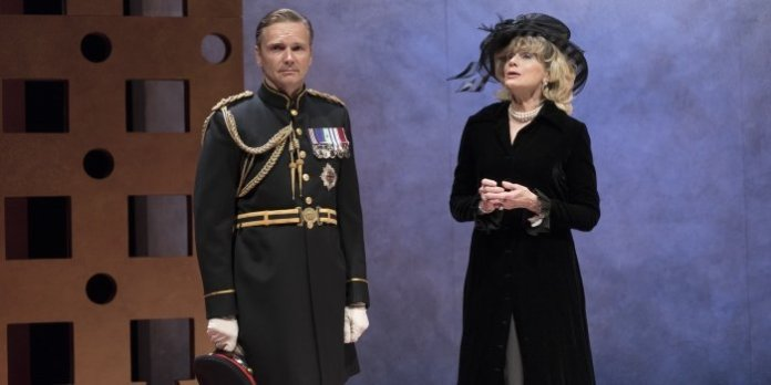 Ted Cole as Charles and Gwynyth Walsh as Camilla in the Arts Club Theatre Company production of King Charles III. Photo by David Cooper.